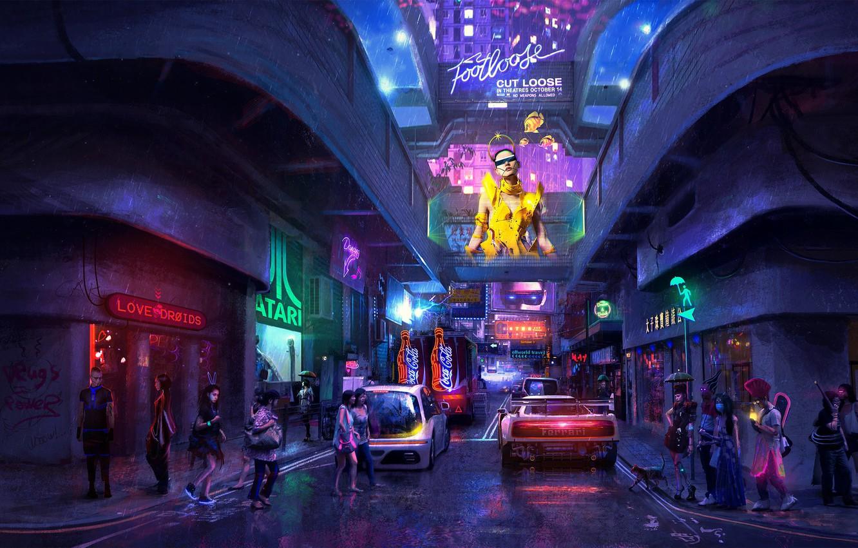 Wallpaper sci fi neon cyberpunk dystopia artwork hong kong 1332x850