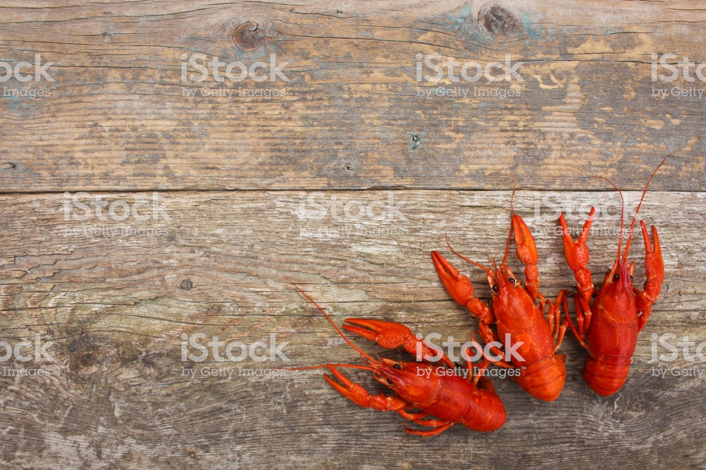 Crawfish On The Old Wooden Background Stock Photo   Download Image 1024x682