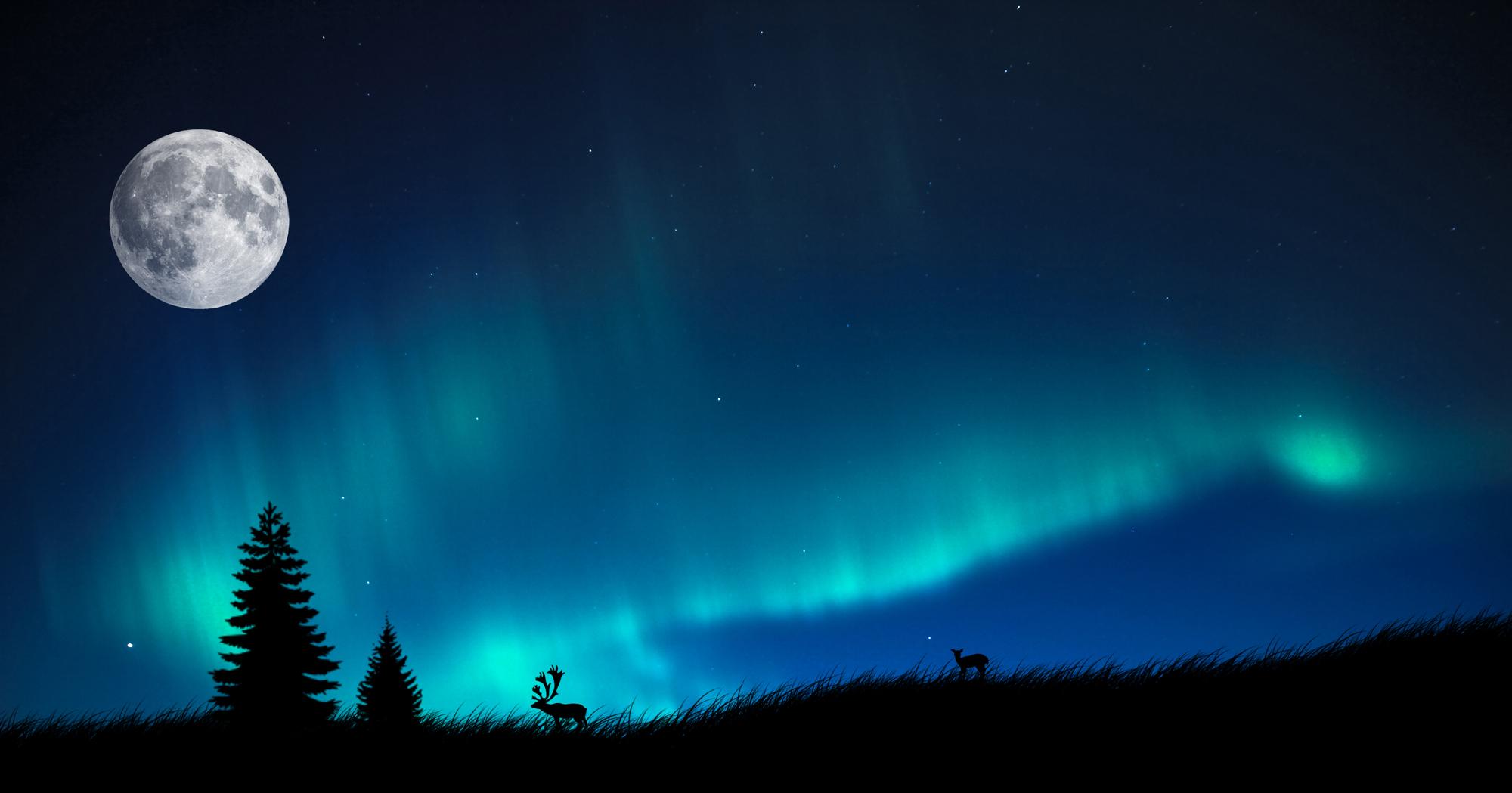 Blue Aurora Borealis - wallpaper.