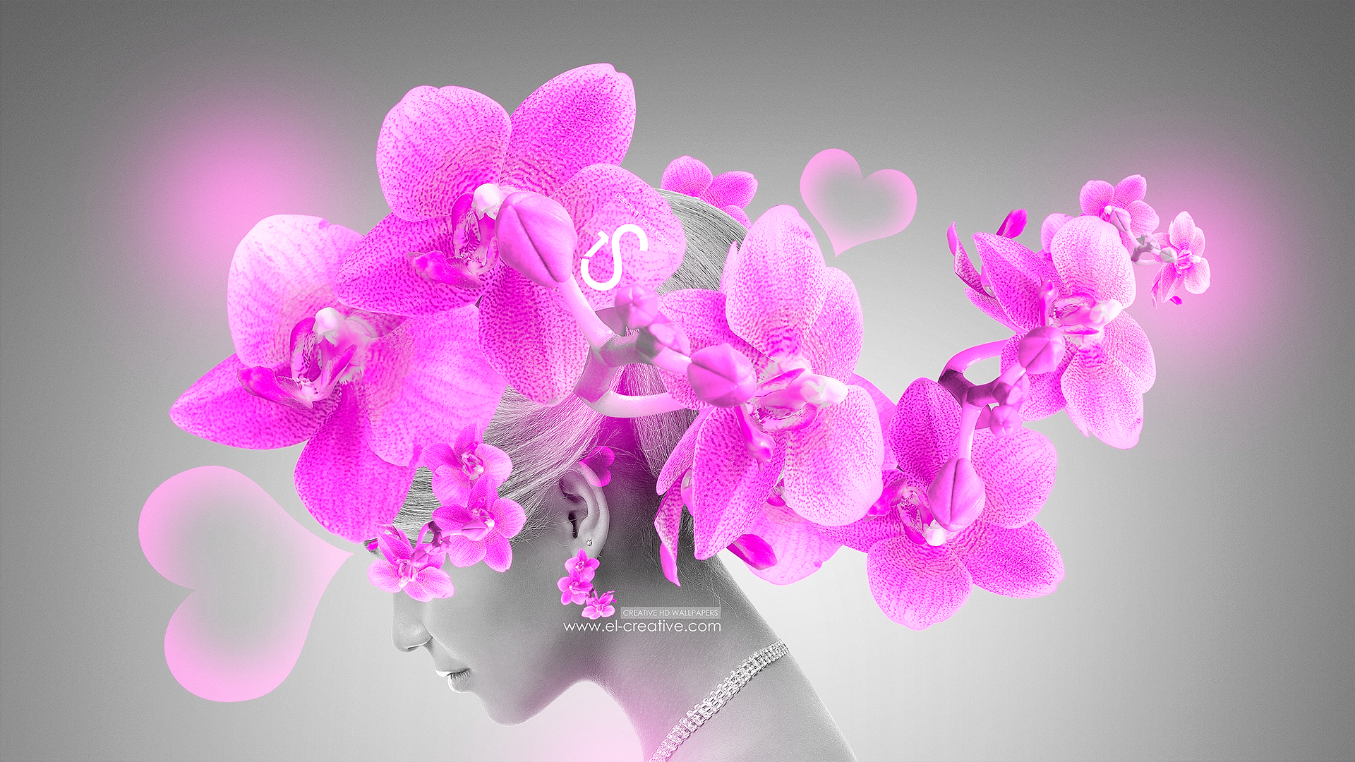 Fantasy Make Up v2 Girl Flowers Pink Light Neon 2013 HD Wallpapers by 1920x1080