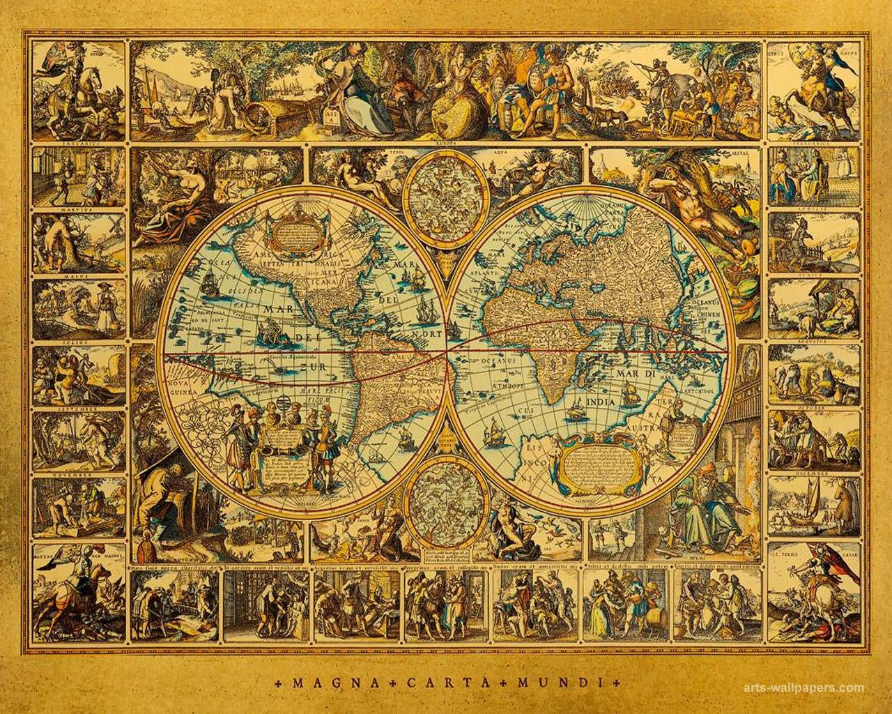 World Antique Map Wallpaper Art Print Poster Art Wallpapers 1280x1024