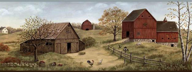 Country Barn Wallpaper Border