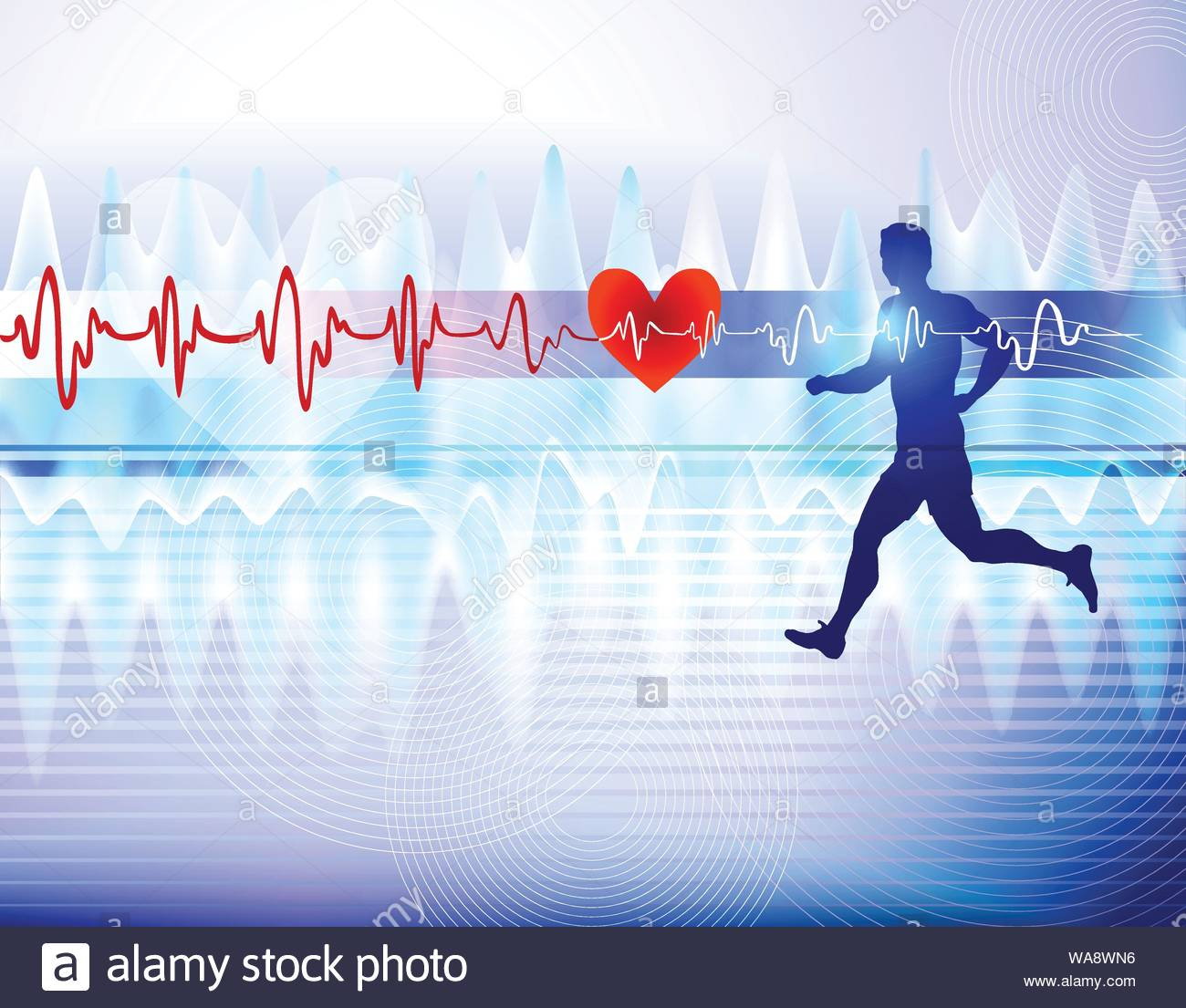 Medicine background with sportsman and heart cardiogram Stock 1300x1105