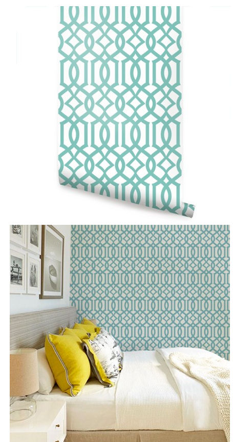 Modern Trellis Green Peel and Stick Wallpaper   Wall Sticker Outlet 455x861