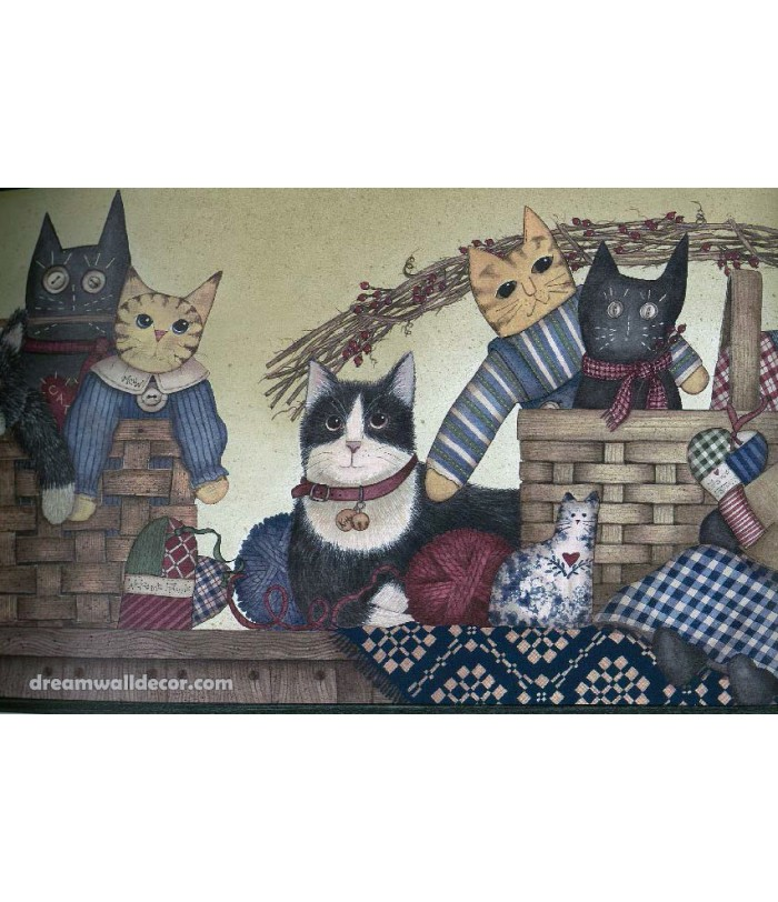 Black Cats Toy Kids Wallpaper Border 700x812