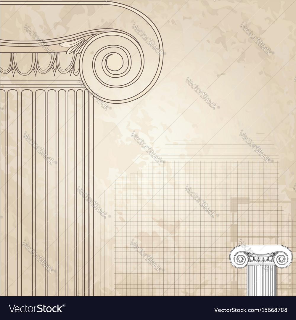 Classic columns background roman engraving Vector Image 1000x1080