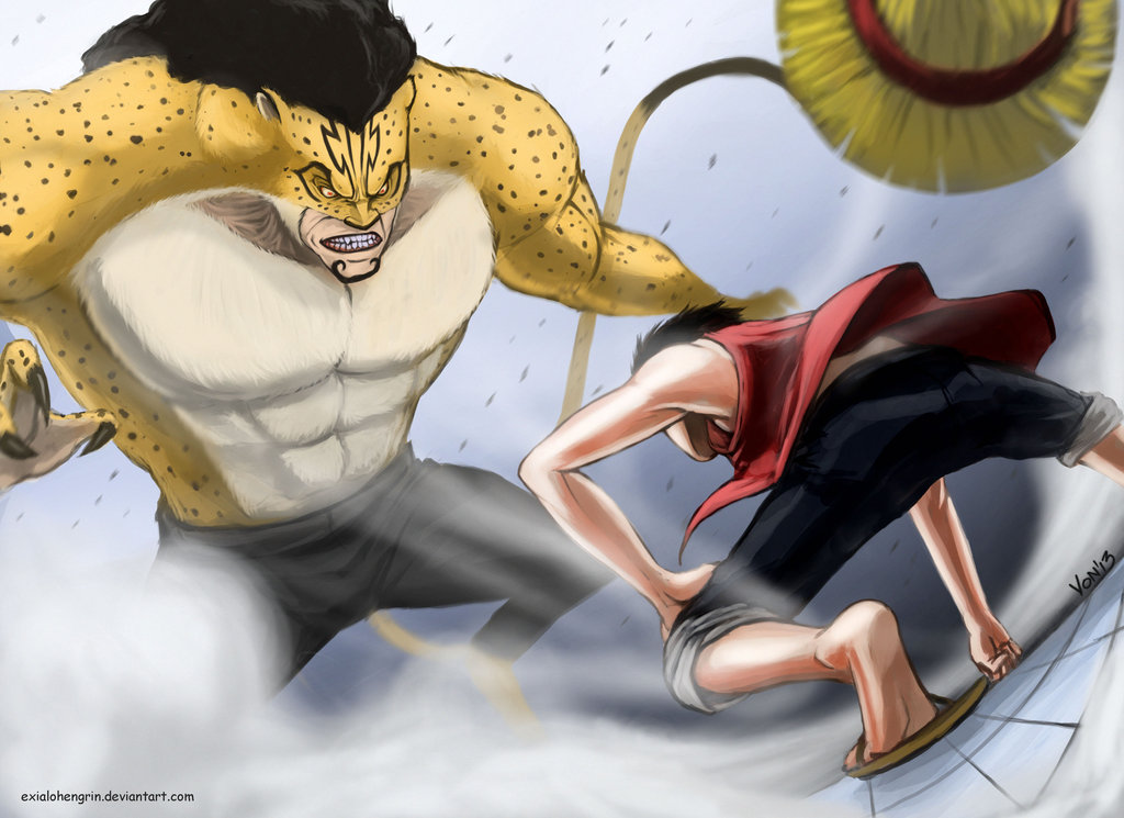 Monkey D Luffy vs Rob Lucci by ExiaLohengrin 1024x745