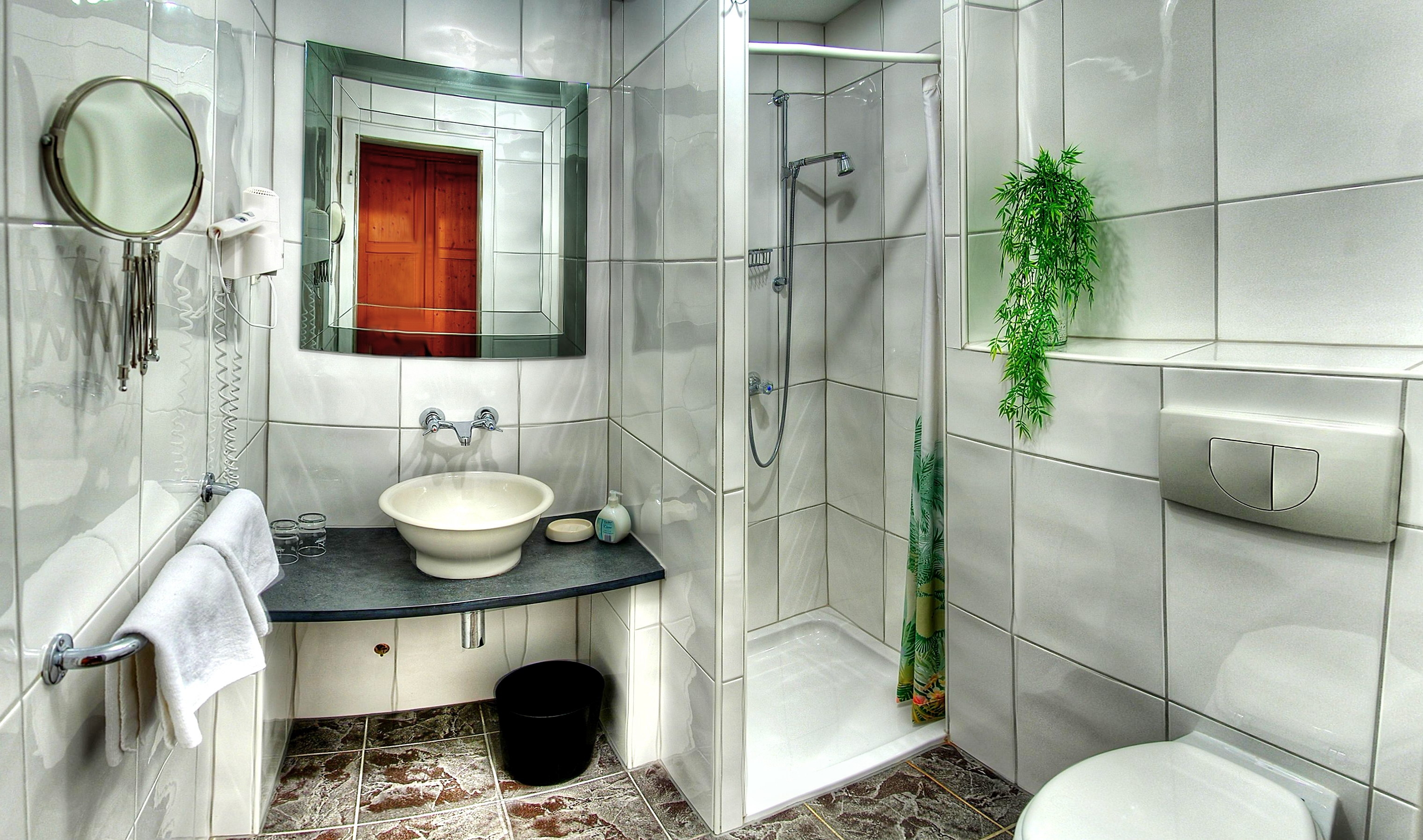 Tub Tile Shower Toilet Sink Mirror Hdr   Stock Photos Images 3042x1796