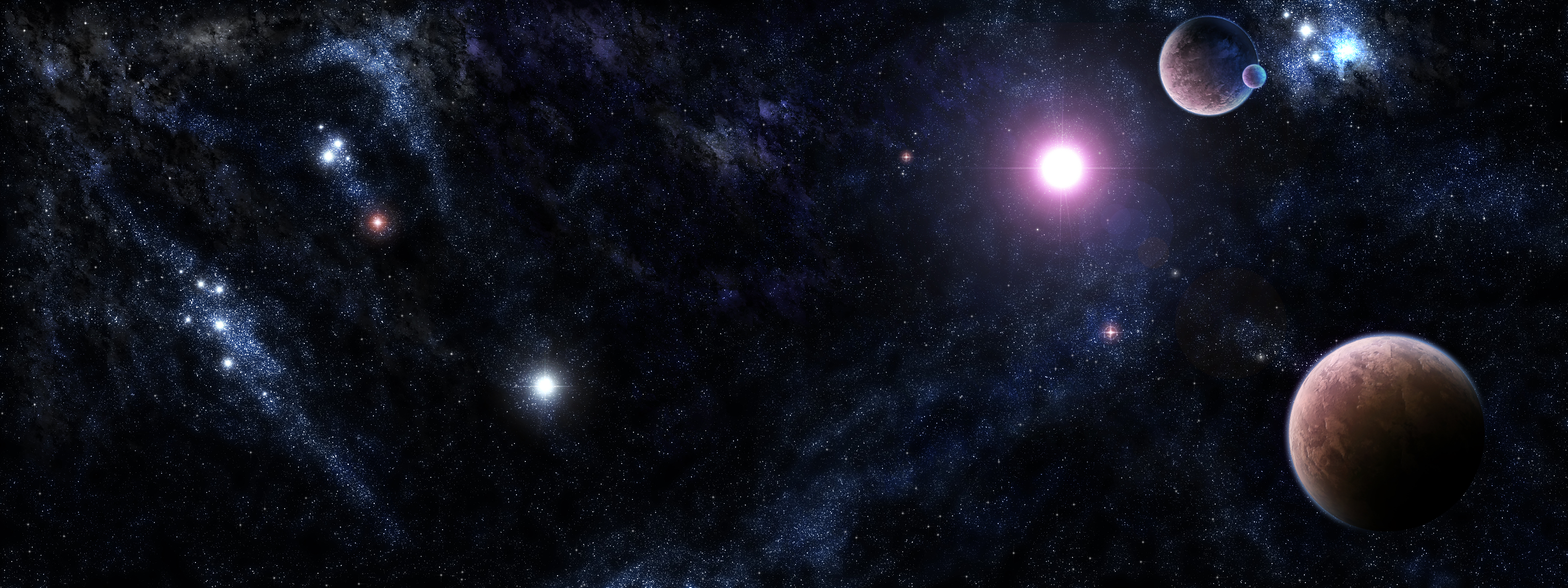 Multi Monitor dual screen sci fi planets stars nebula wallpaper 3200x1200