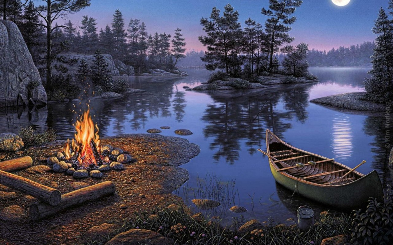 Lake Boat Trees Camp Fire Dark wallpapers Lake Boat Trees Camp 1280x800