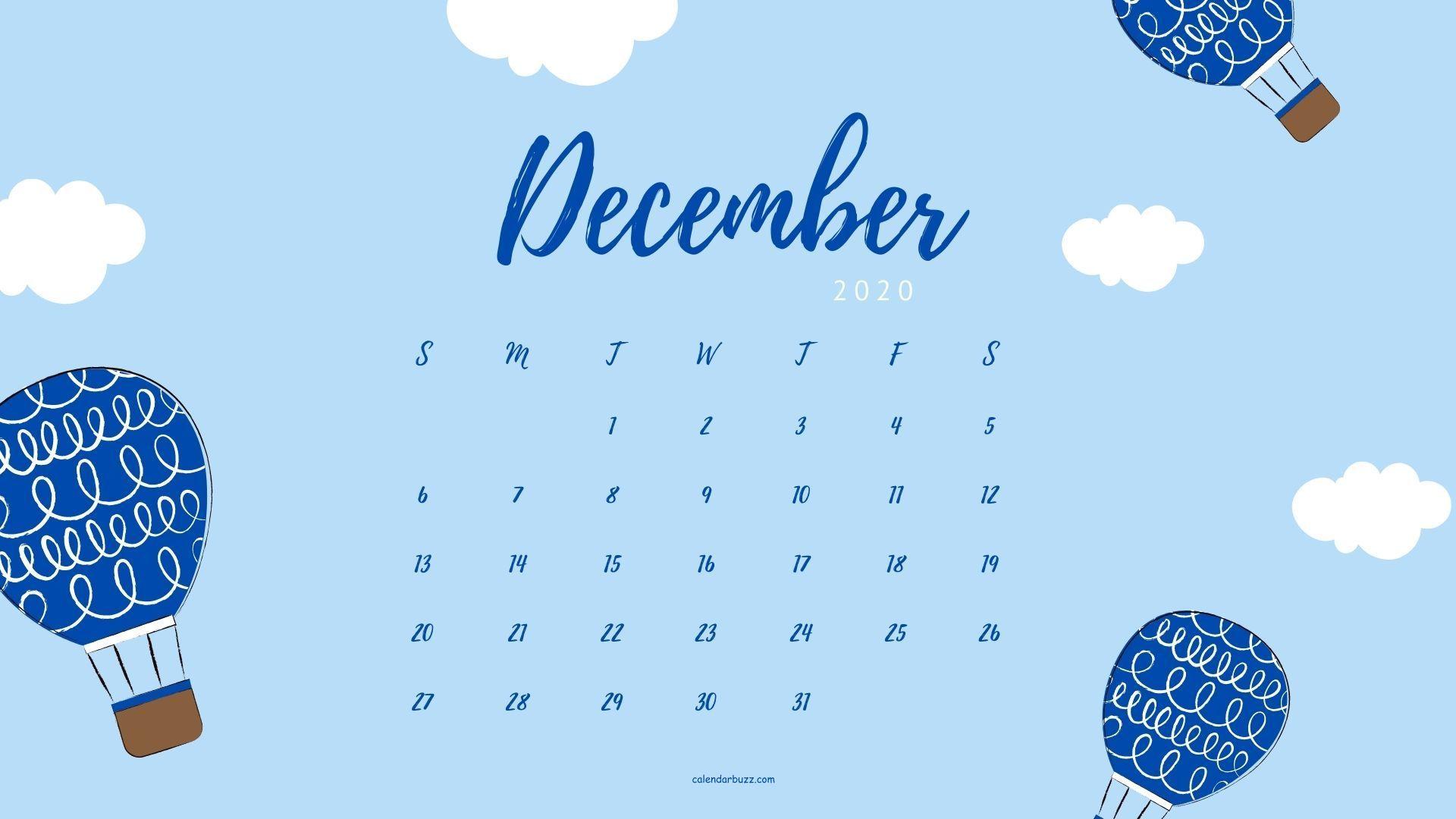 December 2020 Desktop Calendar Wallpaper in Landscape Mode in 2020 1920x1080