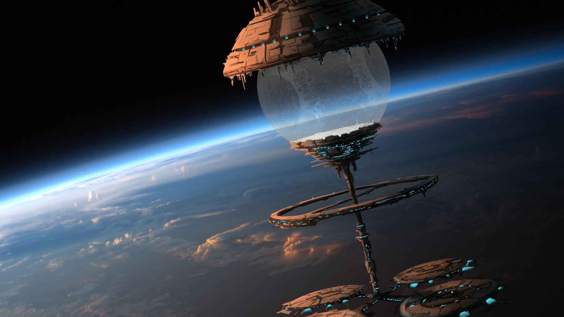 Space Orbital stations sci fi spaceship spacecraft city art 1920x1080