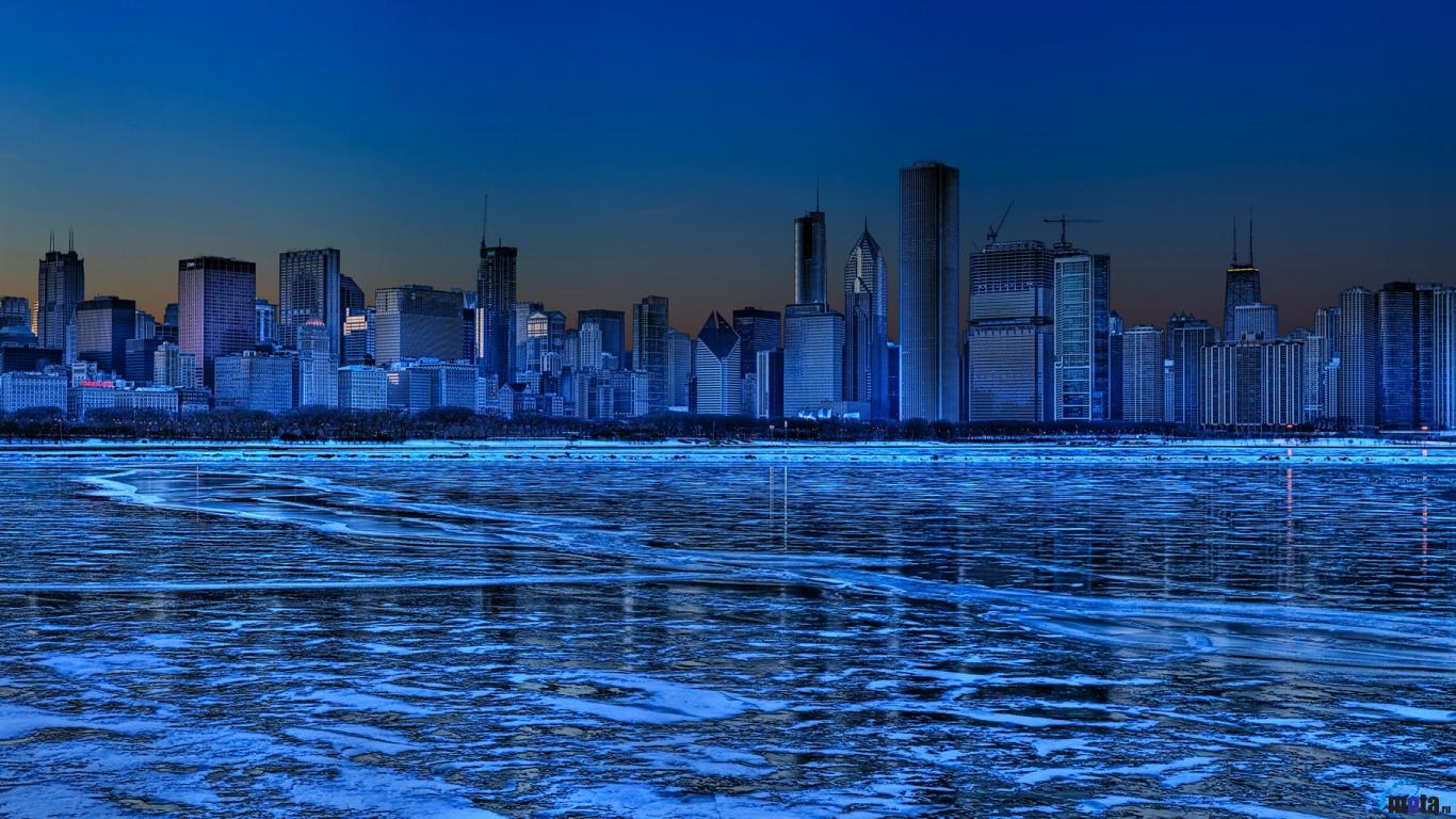 Download Wallpaper Panorama of Chicago Illinois USA 1366x768