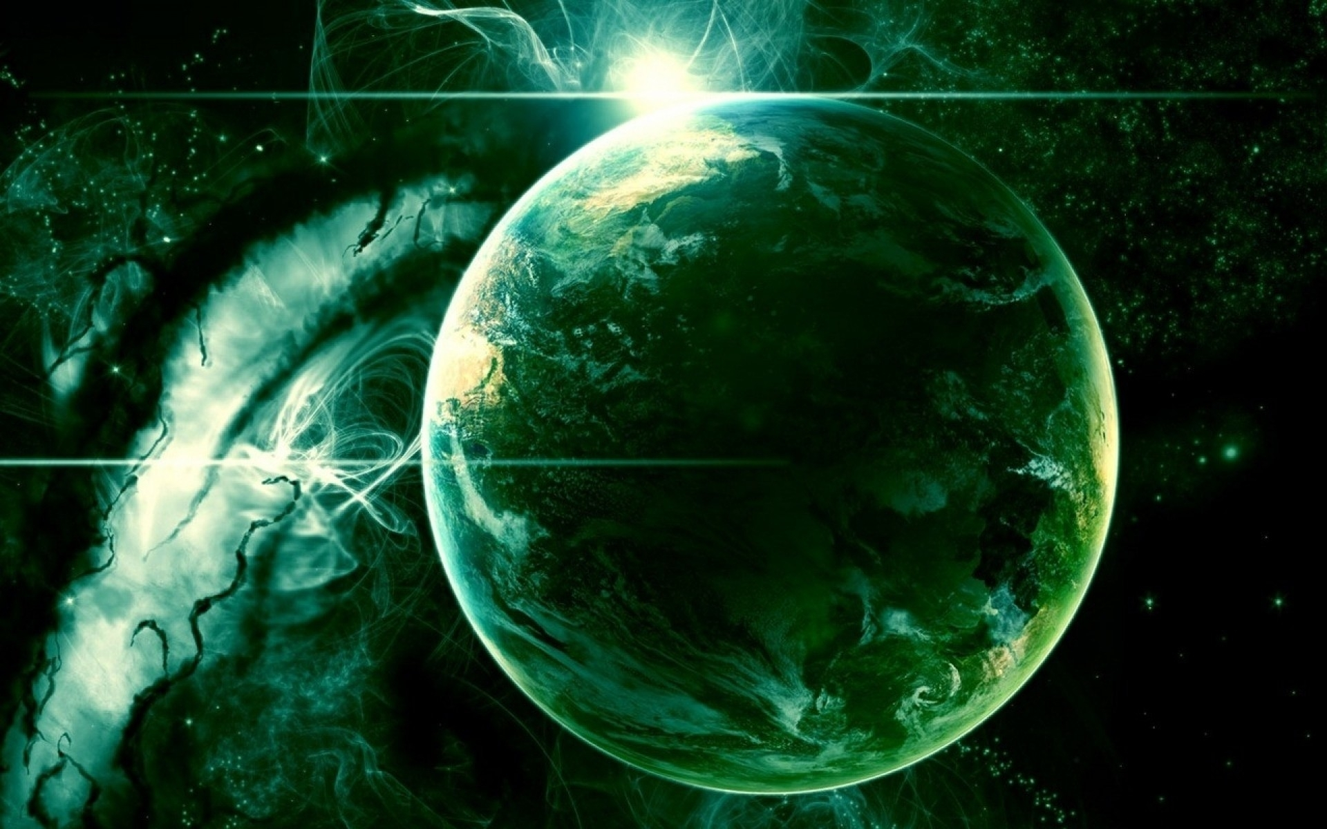 Green Outer Space Planet wallpapers Green Outer Space Planet stock 1920x1200