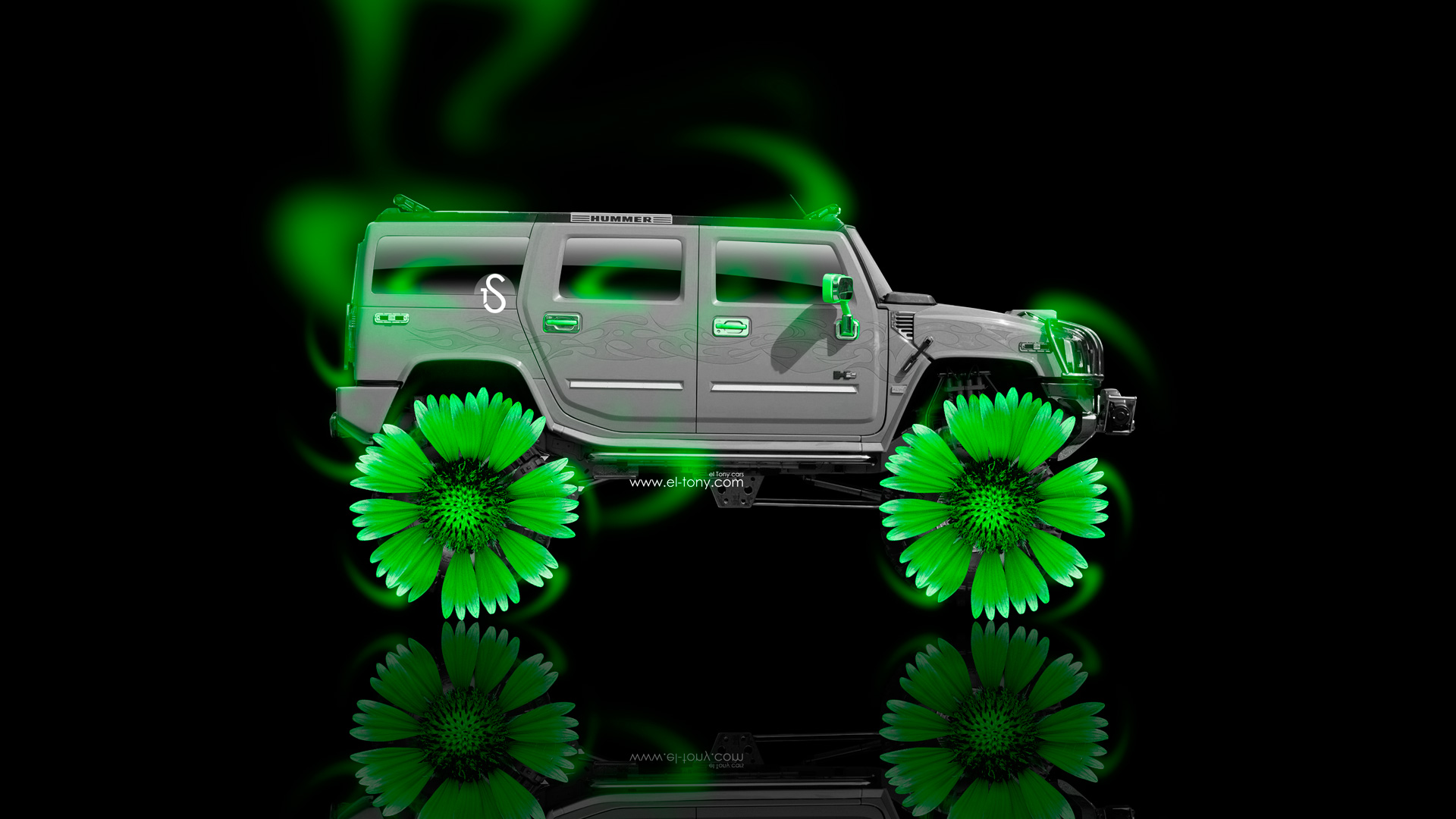 Hummer H2 Fantasy Neon Flowers Car 2014 Green Neon HD Wallpapers 1920x1080
