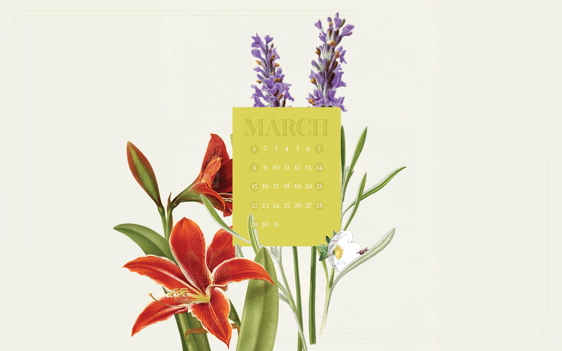 March 2015 Desktop Calendar Wallpaper Paper Leaf 1920x1200