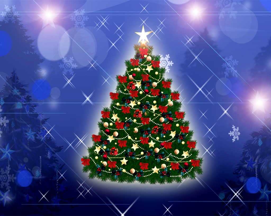 1024x768 Christmas Tree desktop PC and Mac wallpaper 1024x819