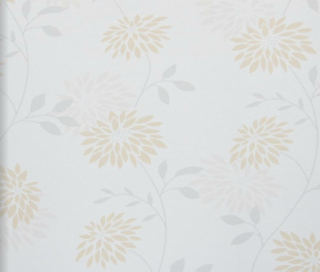 Modern Floral Wallpaper Orange and Grey   Contemporary   Wallpaper 640x544