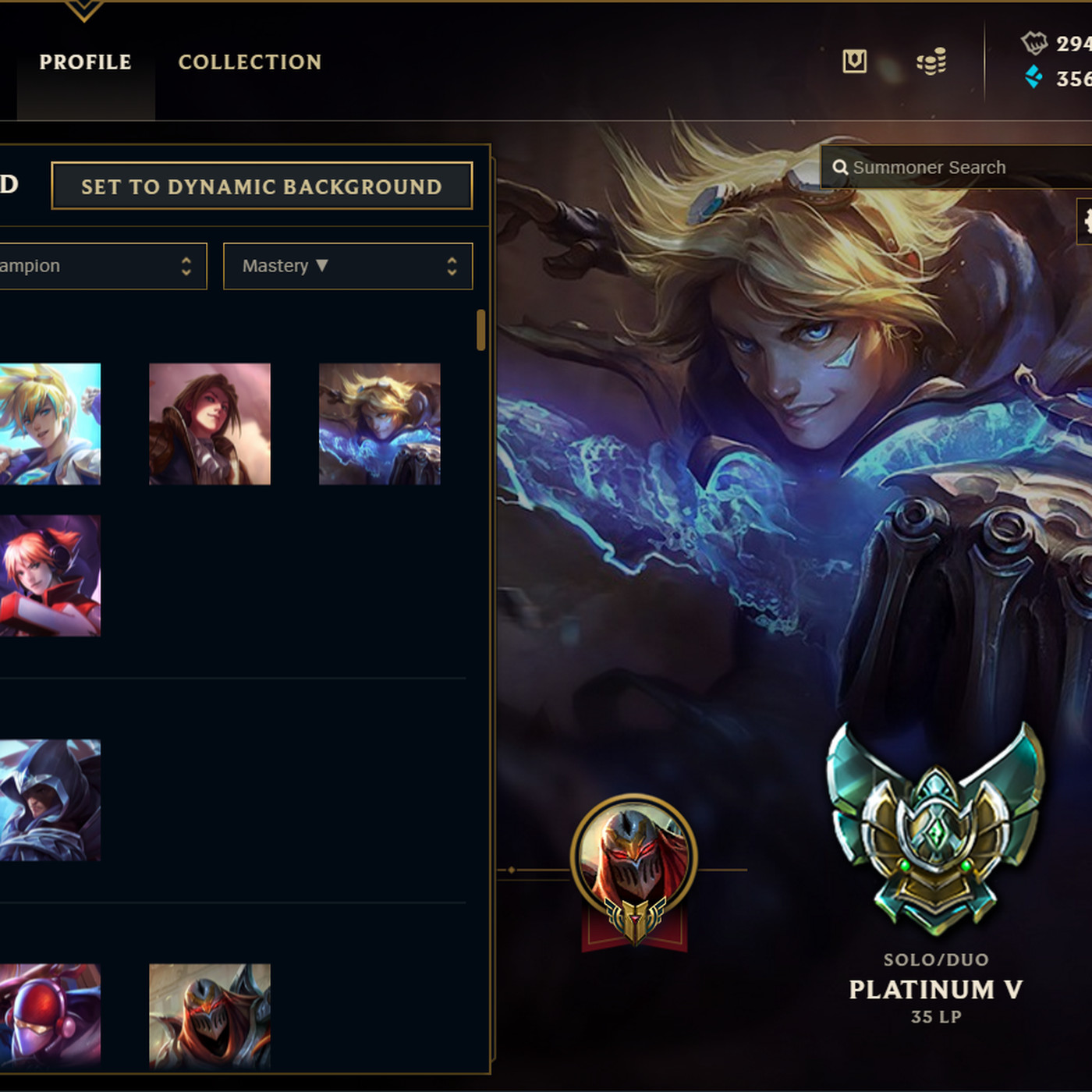 Youll be able to choose what champion is your profile background 1400x1400