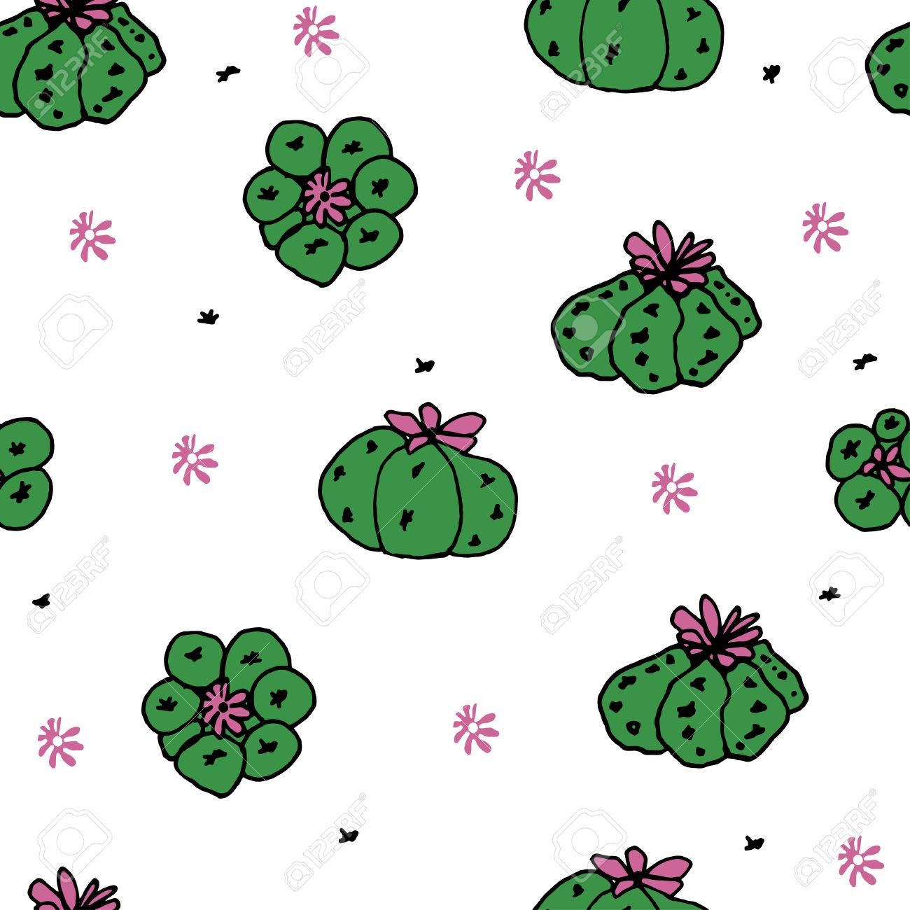 Seamless Vector Pattern With Cactus Peyote For Textile Ceramics 1300x1300