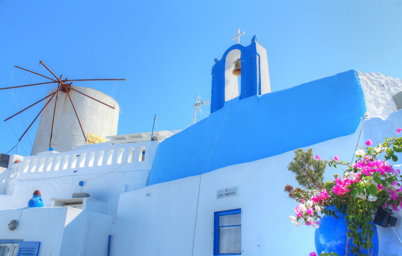 Wallpaper the sky flowers house Santorini Greece images for 1332x850