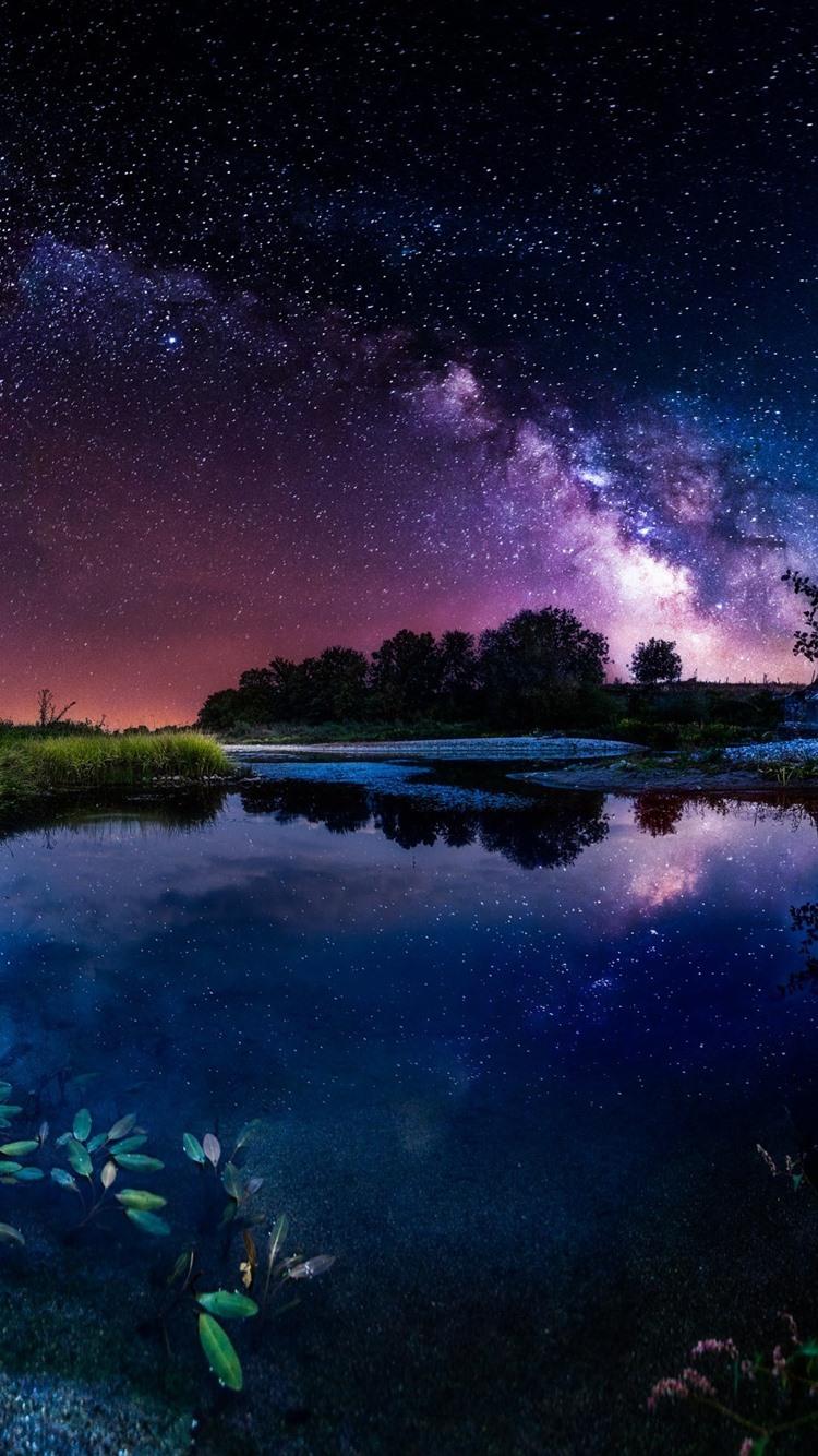 Free Download Beautiful Night Pond House Starry Sky Stars
