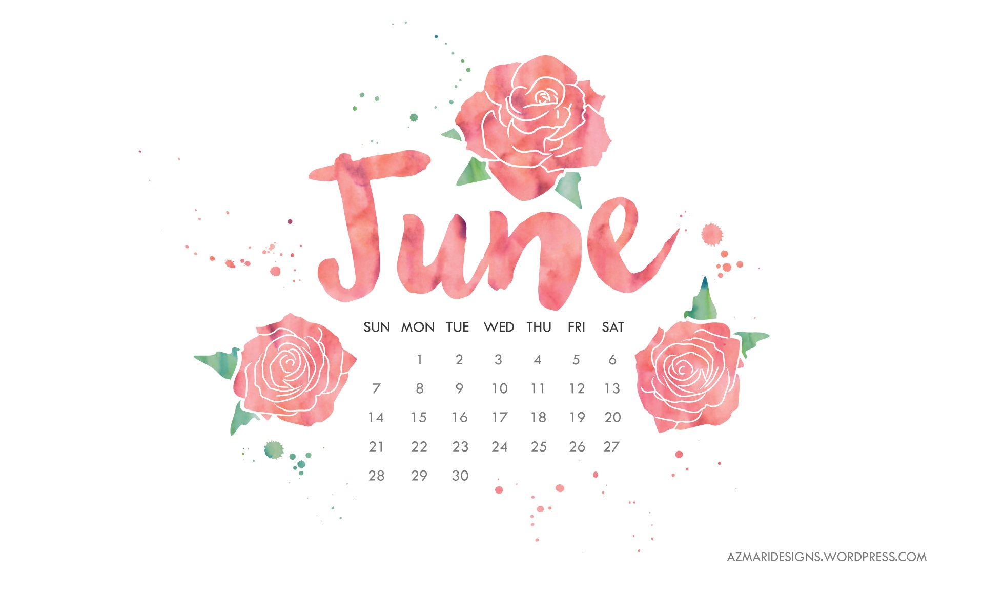 June 2015 Desktop Wallpaper Calendar Azmari Designs 1920x1200