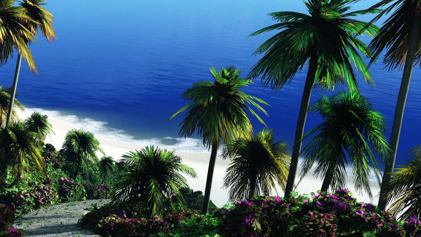 Tropical beach wallpaper 6869 1366x768