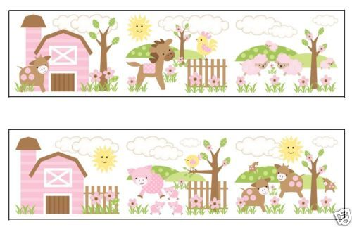 Border Baby Girls Animal Wallpapers Barnyard Farms Girls Nurseries 500x323