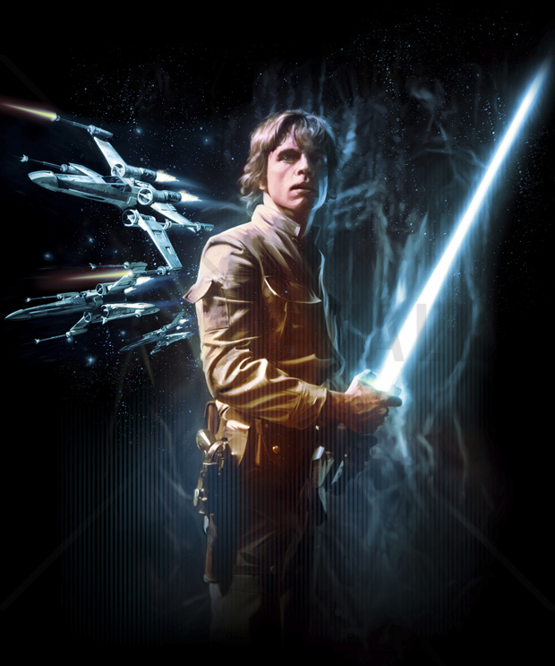 Star Wars   Luke Skywalker Lightsaber   Fototapeter Tapeter 620x743