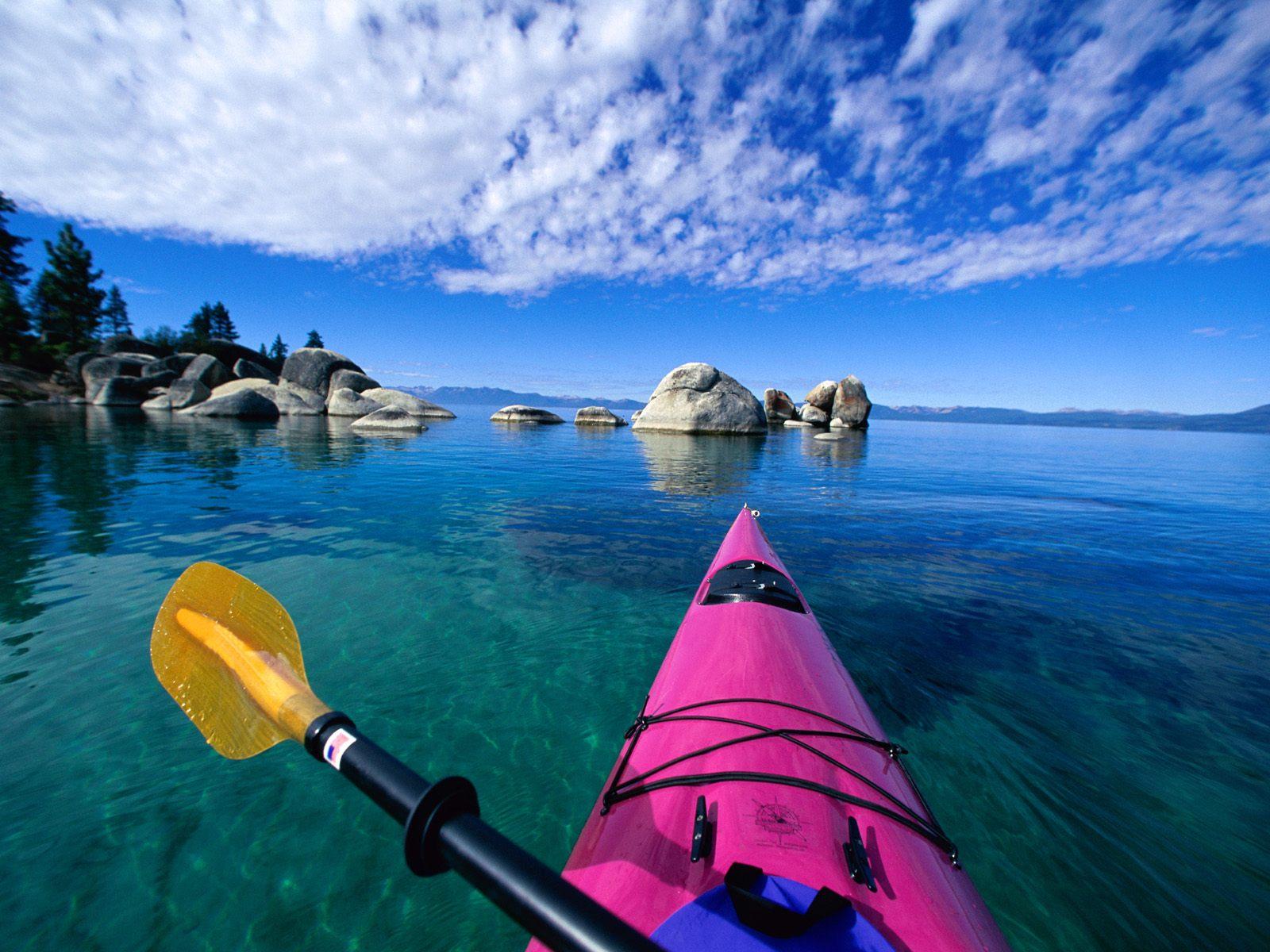Wallpaper blue clouds lake kayak canoe Kayak First Person 1600x1200