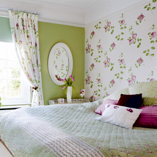 wallpaper and matching curtains feature wall coordinating paint house 500x500