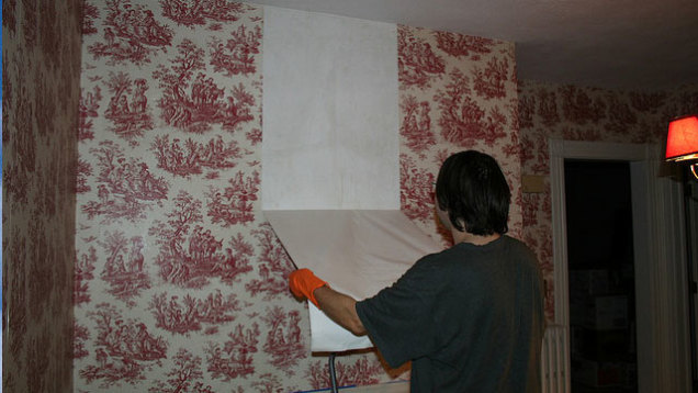 Apparently the hot water looses the wallpaper glue while the vinegar 636x358