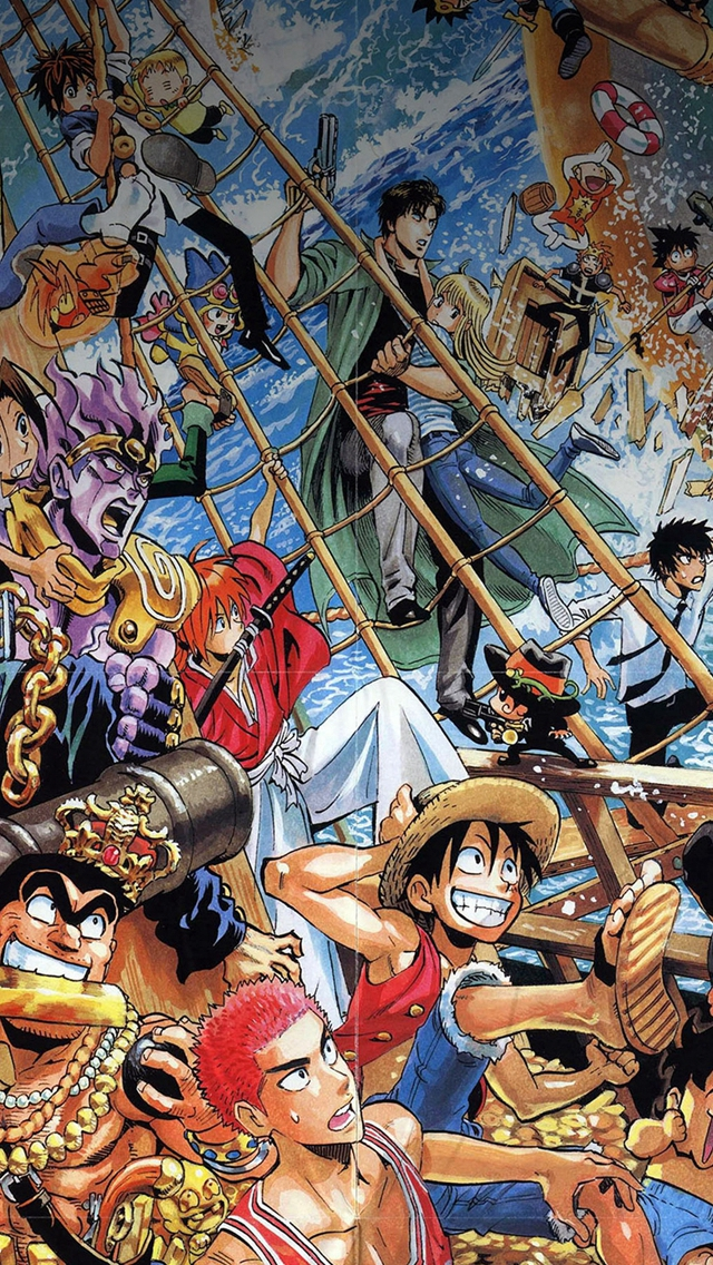 One Piece All The Fun Comics Illust IPhone Se Wallpaper Download 640x1136