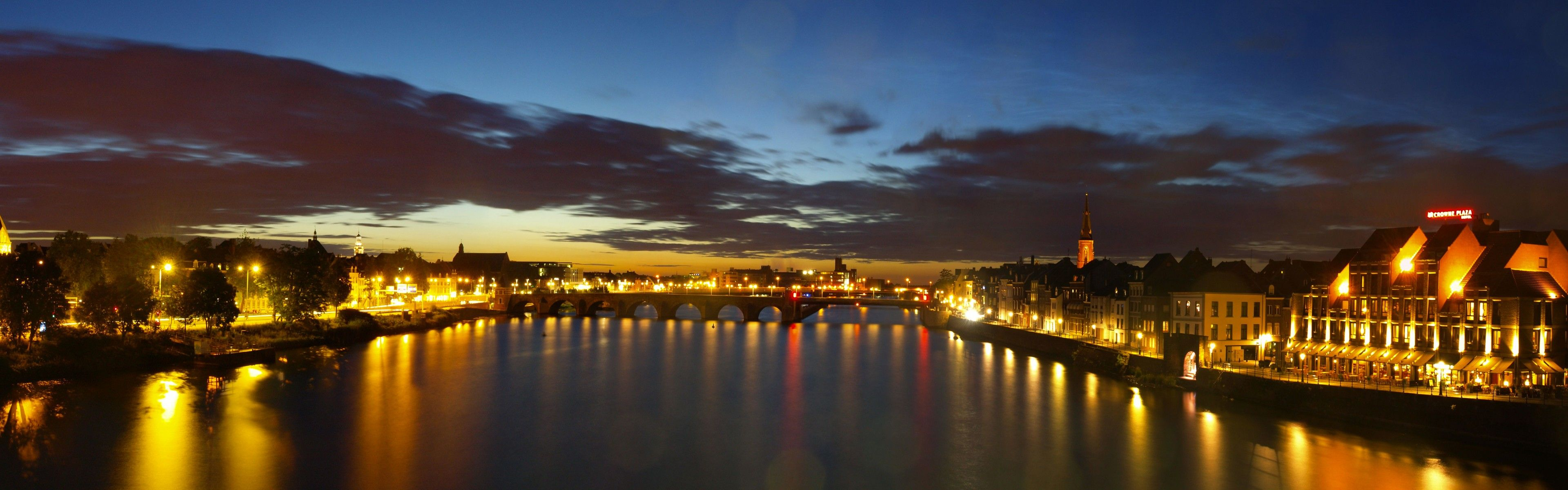 City Holland Hotel Maastricht Netherlands Bridges Cities Night 3840x1200