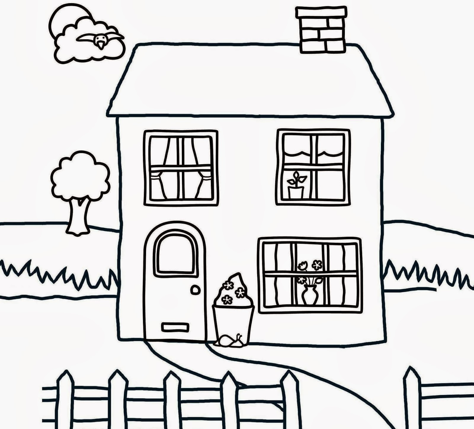 Childrens coloring house - Wallpaper Beautiful Kids House Coloring Colour Drawing Hd Wallpaper