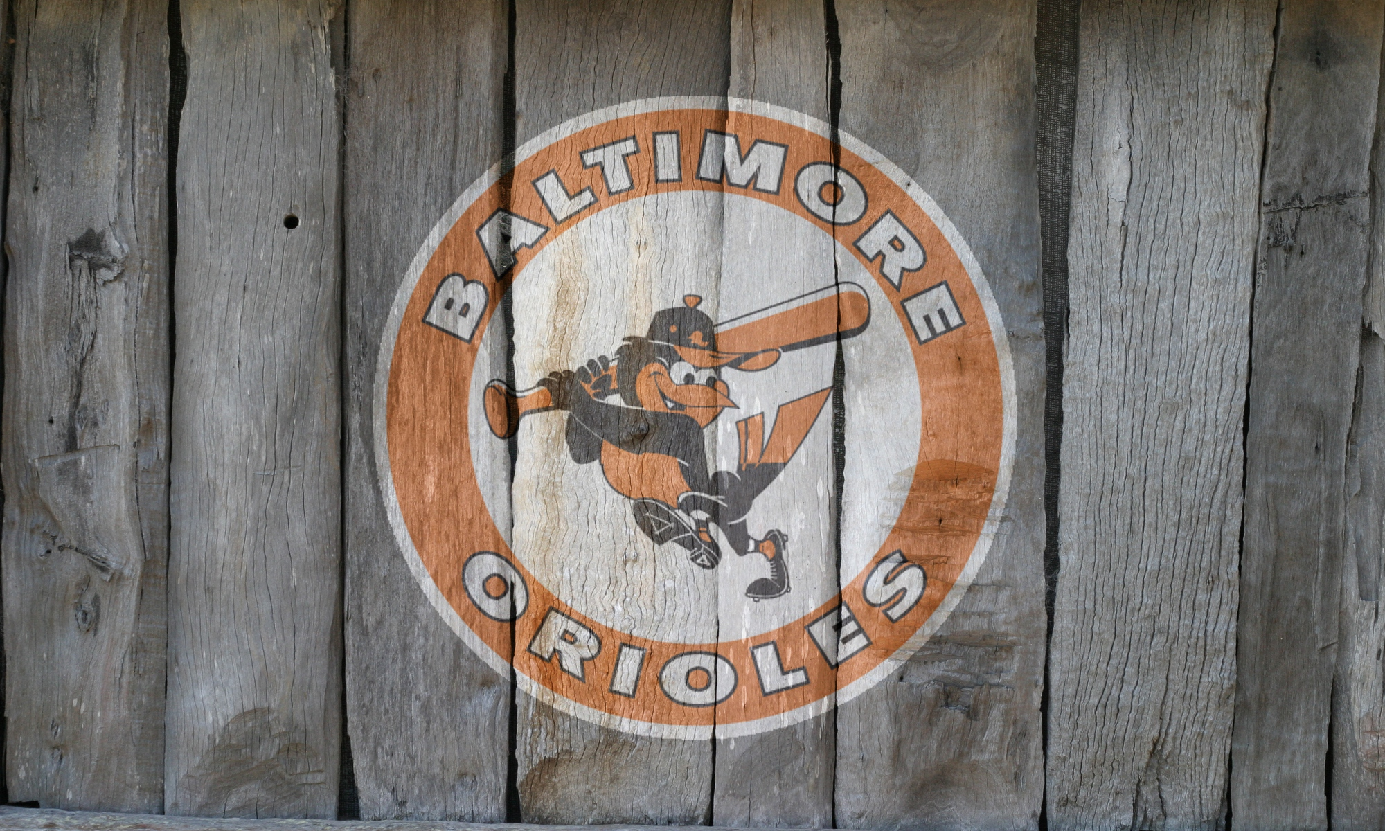 Throwback Baltimore Orioles Logo on Wood Fence by Oultre 2000 x 2000x1200