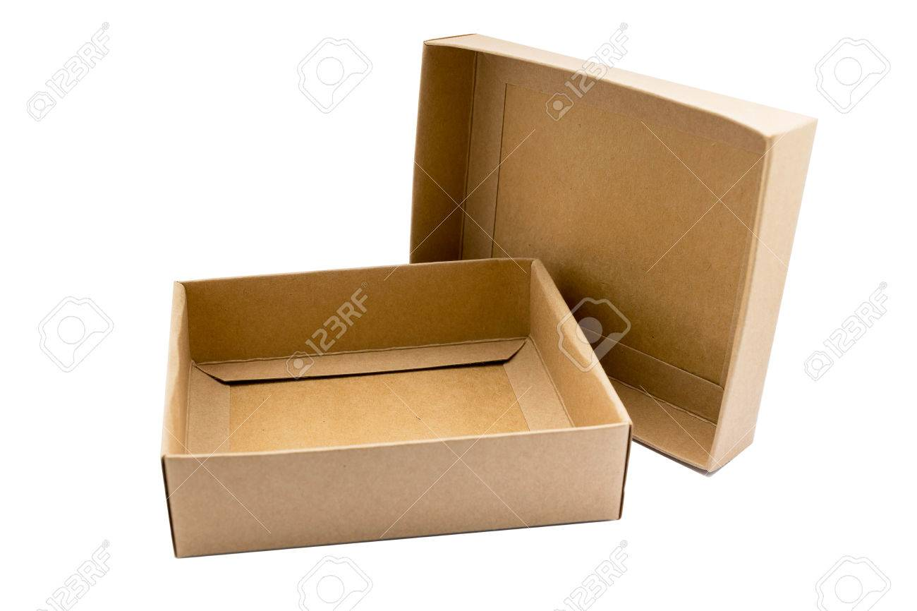 Carton Box Upper Lower Cover Brown Color On White Background 1300x866