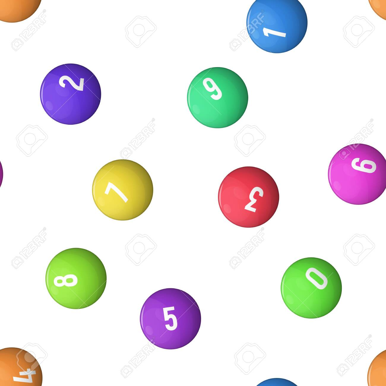 Balls For Lottery Vector Illustration Wallpaper Seamless Pattern 1300x1300