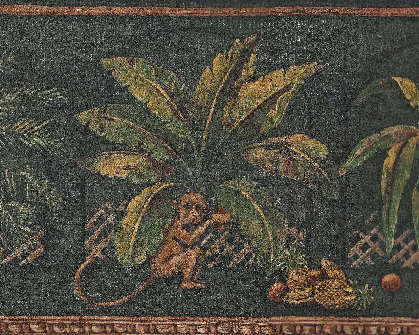 Sale Tropical Palm Tree Leaves Black Background Wallpaper Border 1600x1280