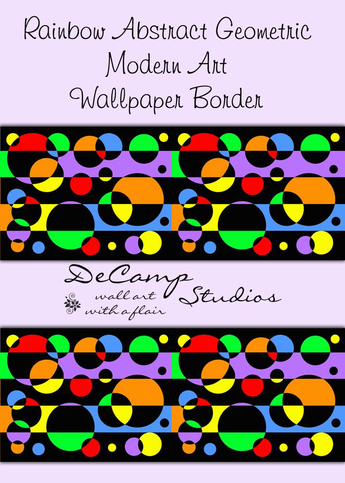 Rainbow Abstract Geometric Art Wallpaper Border Wall Decals [383] 700x980