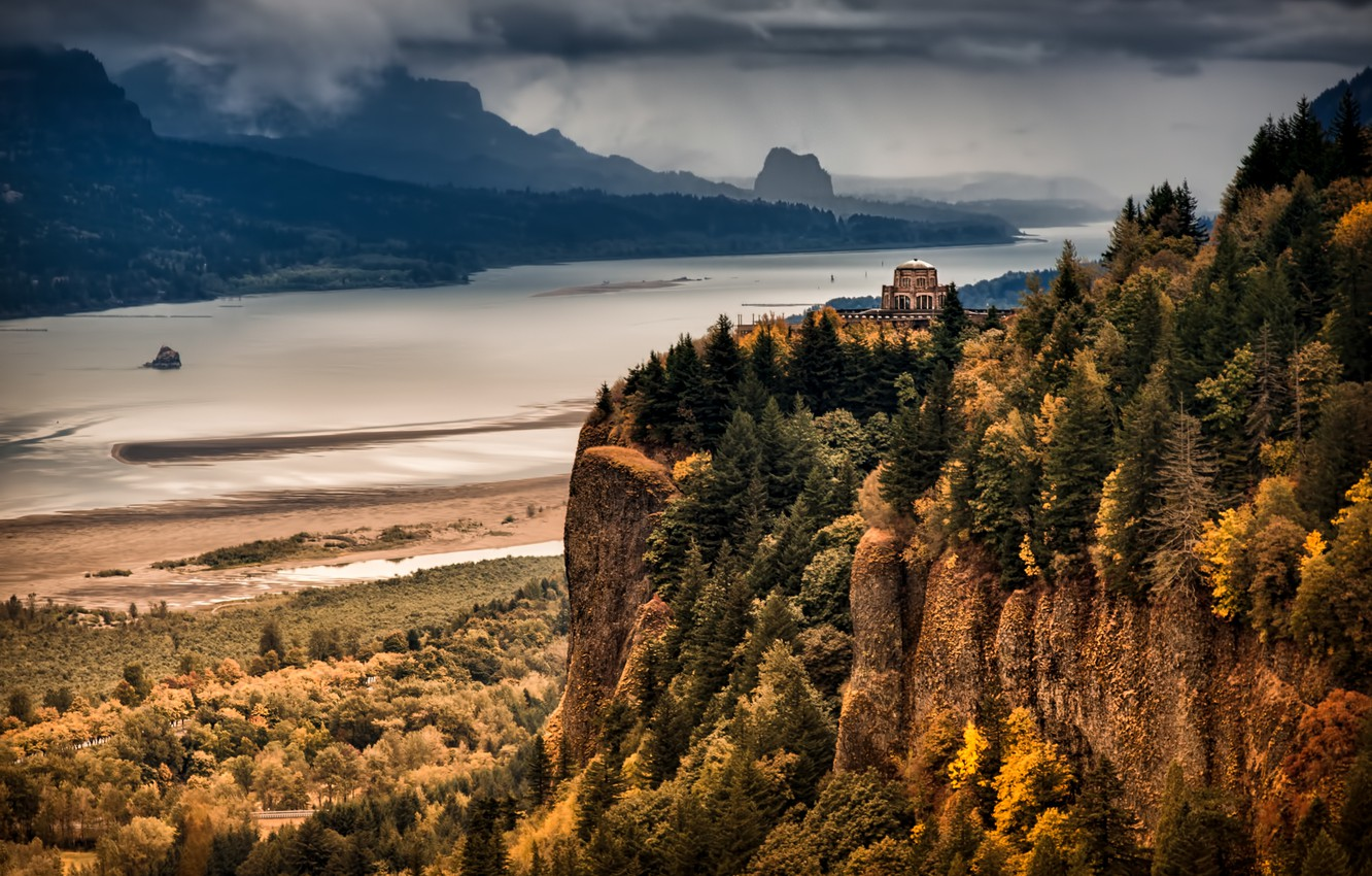 Wallpaper autumn forest mountains river Columbia River Gorge 1332x850