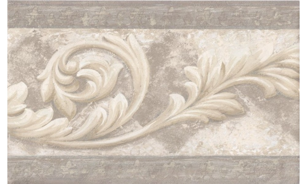 Vintage Borders Silver Cream Molding Swirls Wallpaper Border 1000x600