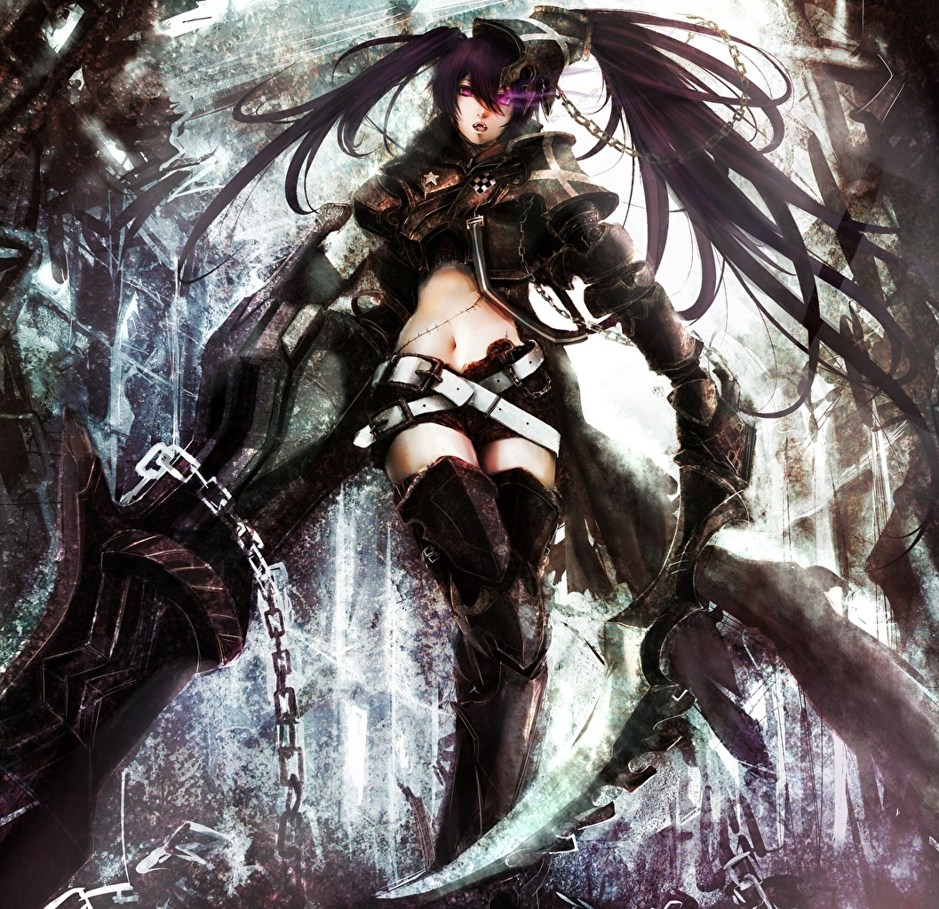 Wallpaper Black Rock Shooter Chain Insane Black Rock   Black Rock 1057x1024