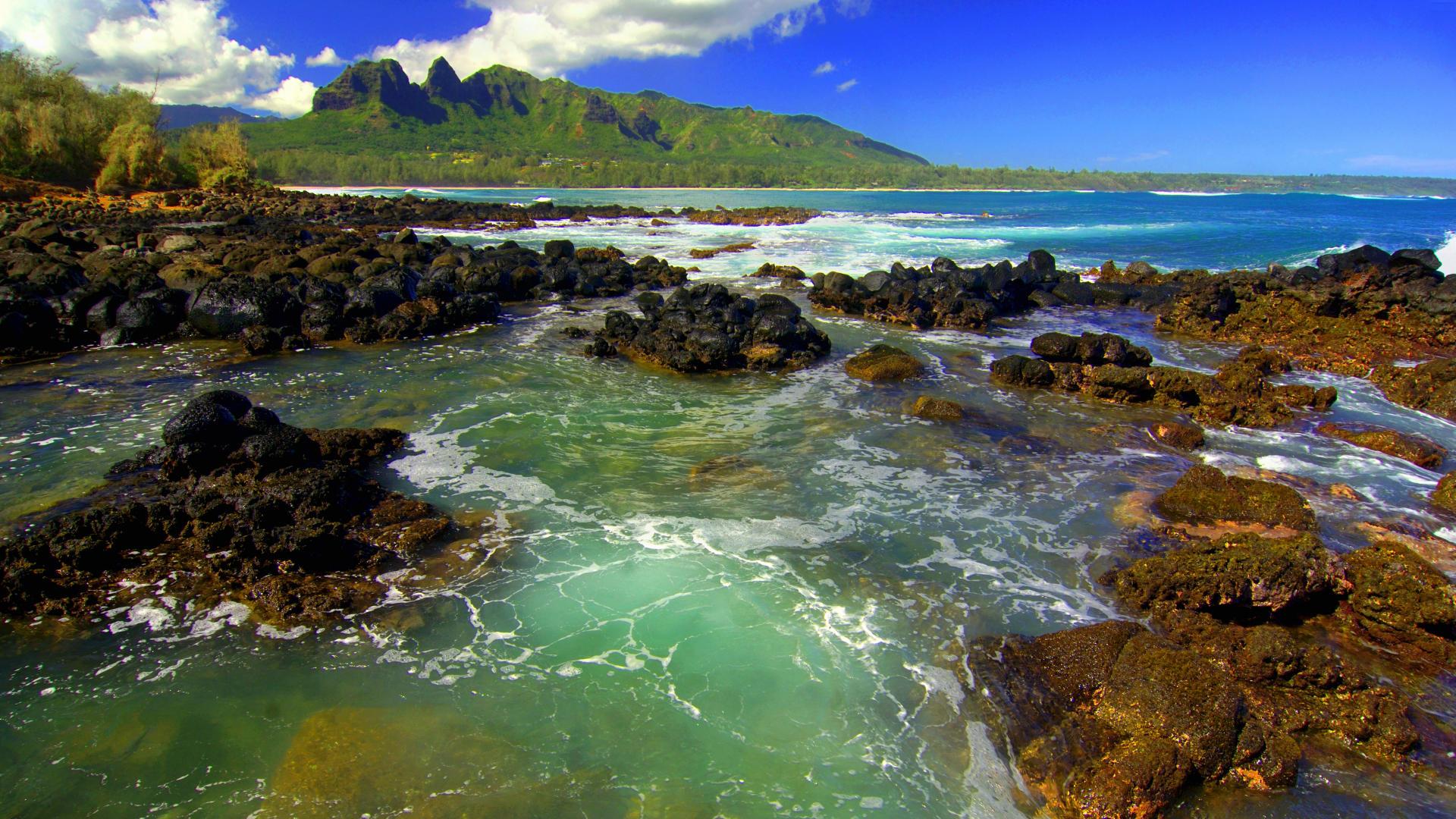 Background   Kong Mountain Seascape Kauai   Cool Backgrounds 1920x1080