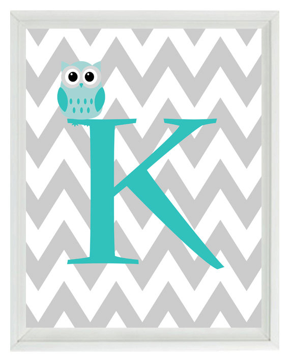 Chevron Initial Letter Art Print   Owl Nursery Aqua Gray Personalized 570x713