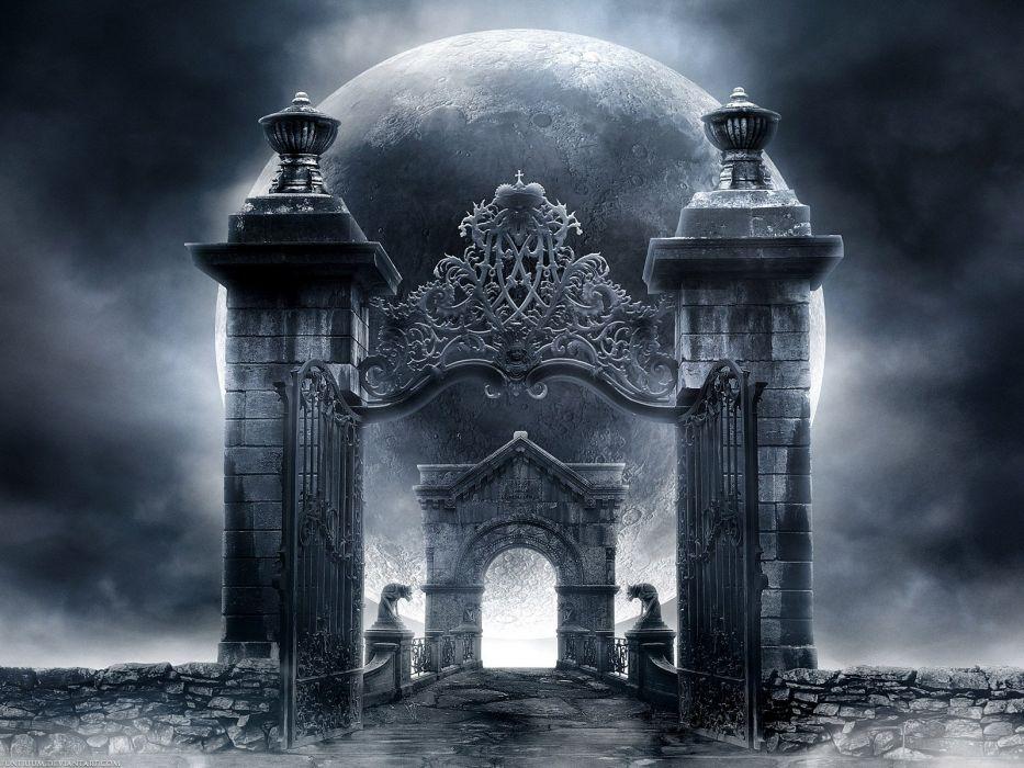 Gothic gates moon wallpaper 1600x1200 693755 WallpaperUP 933x700