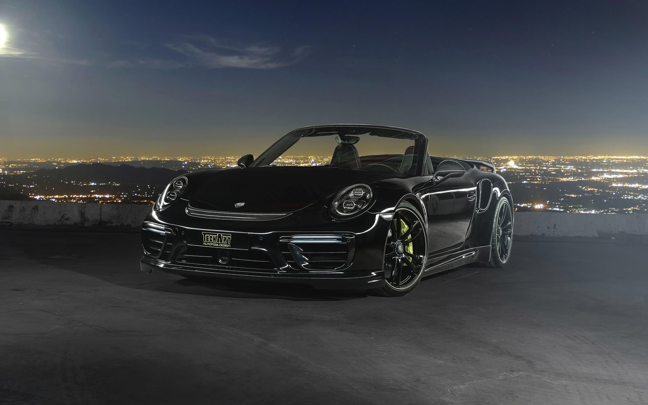 2016 Porsche 911 Cabriolet TechArt Wallpapers HD Black at night 2560x1600