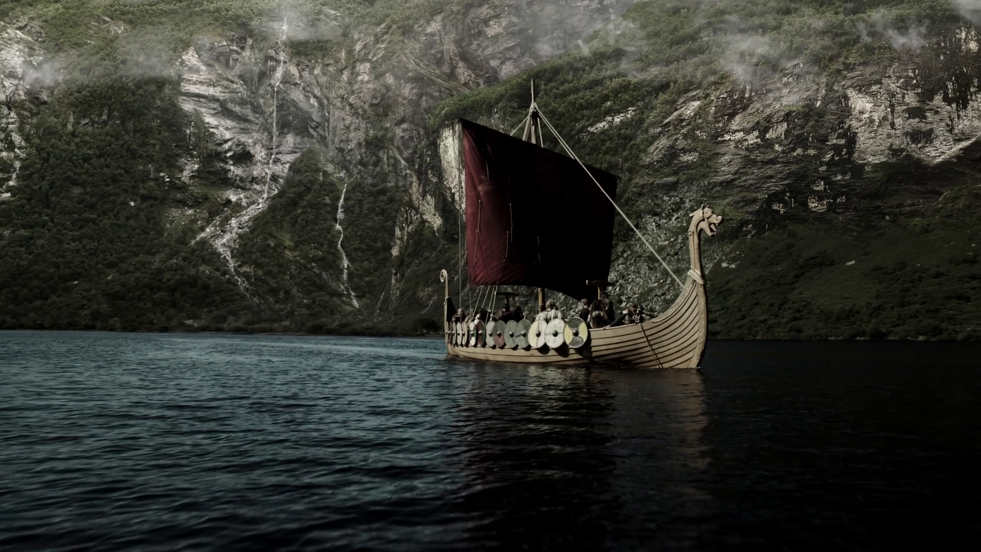 Red sail of a Viking ship wallpapers and images   wallpapers pictures 1920x1080
