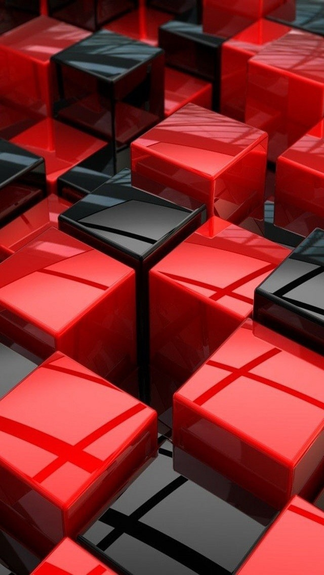 Black and Red Cubes iPhone 5 Wallpaper and iPhone 5S5C Wallpaper 640x1136